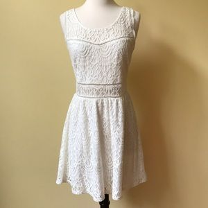 Trixxi White Lace Skater Scoop Neck Mini Dress